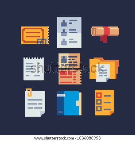 Business Documents Office Pixel Art Icons Stock Vector Royalty Free - Free business documents