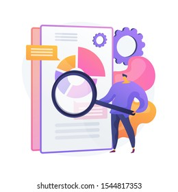 Business documents scanning. Electronic online doc with pie chart infographics. Data analytics, annual report, result checking. Man with magnifying glass. Vector isolated concept metaphor illustration