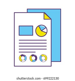 business documents with statistics diagram graphy