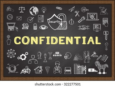 Business doodle about confidential on chalkboard.