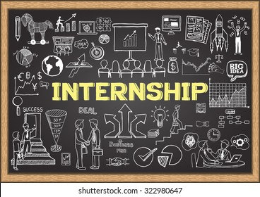 Business doodle about internship on chalkboard