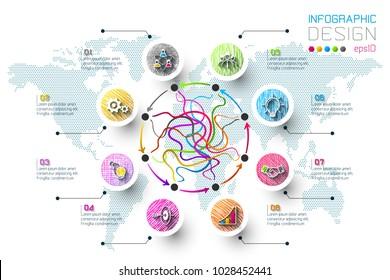 Business doodle color labels shape infographic circles bar.