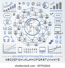 Business doodle concept  on paper background. Connecting people. Global business. Vector hand drawn sketch icons in black and blue colors. Hand drawn letters of alphabet and numbers.