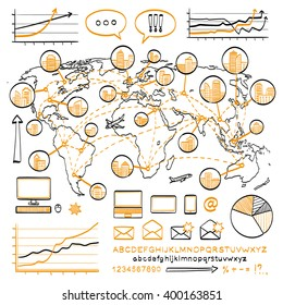 Business doodle concept. Vector hand drawn sketch icons in black and orange colors. Offices in many cities around the world. Hand drawn letters of alphabet. Isolated on white background. Infographics.