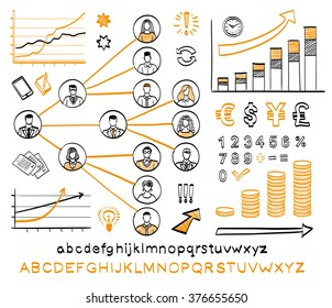 Business doodle set. Vector hand drawn sketch icons in black and orange colors. Business team. Hand drawn letters of alphabet and numbers. Isolated on white background.