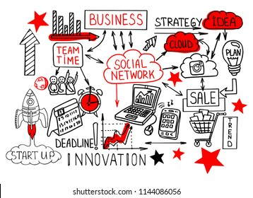 Business doodle sketch hand drawn vector illustration. It include: Takeoff of the aircraft, business plan, graphs and charts, start up, media, network, aim and target, success, stats, devices.