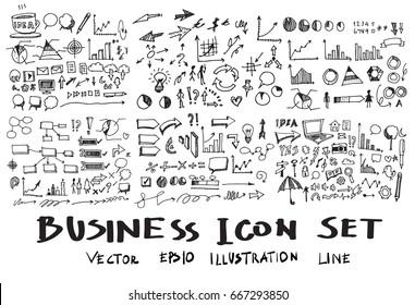 Business Doodle Sketch line vector set