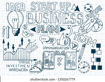 Business doodle sketch set: infographics elements isolated, vector shapes. It include lots of icons included graphs, stats, devices, chart, concepts, strategy. Vector hand drawn blueprint illustration