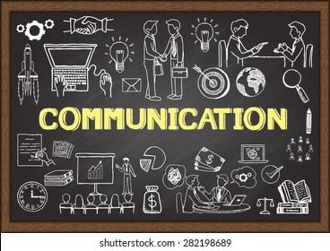 Business doodles about communication on chalkboard.