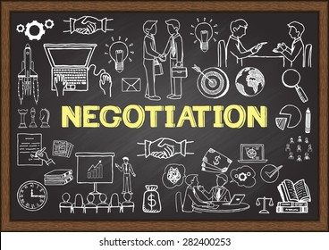 Business doodles about negotiation on chalkboard.
