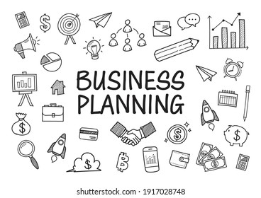 Business doodles hand drawn icons. Vector illustration