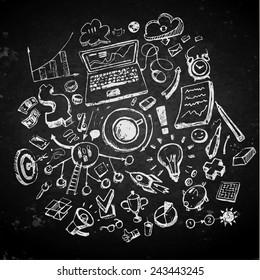 Business doodles on a blackboard. Concept of idea. Vector illustration