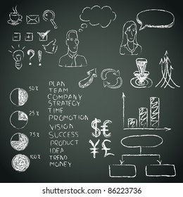 Business doodles on a blackboard. Vector illustration.