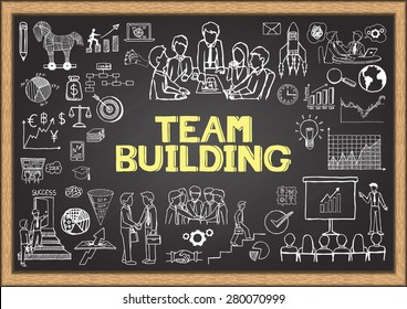 Business doodles on chalkboard with the concept of TEAM BUILDING.