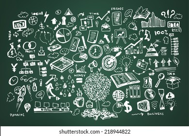 Business doodles on dark green or school board background. Chalk board style of business infographic, goal, time management, Success and idea hand drawn concept with charts, infographics, mind maps