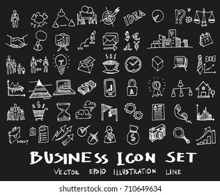 Business doodles sketch vector ink on chalkboard