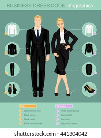 Business dress code infographics. Man and woman in official suits isolated on color background. Vector illustration of people in formal clothes and black shoes.