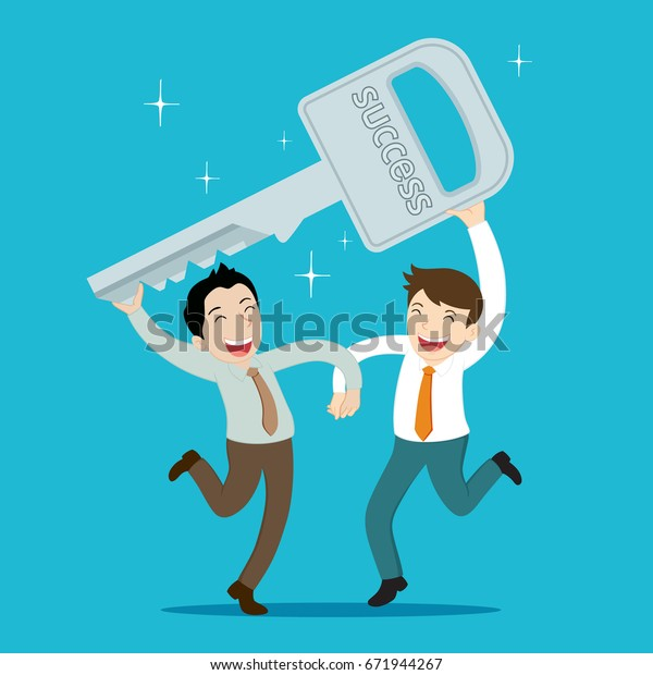 Business Duo Holding Key Dancing Vector Stock Vector (Royalty Free