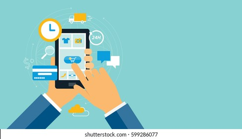business e commerce shopping online on mobile device concept and internet marketing online concept