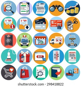 Business and E commerce. Vector Flat Set Icon