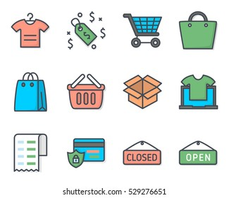 Business Ecommerce Icon vector illustration colored filled pack set