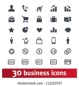 Business, e-commerce, shopping and finance. Universal vector icon set.