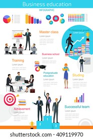 Business education infographic. Master class and achievement, successful team training, presentation data and information, chart for study. Education infographic success people. Vector illustration