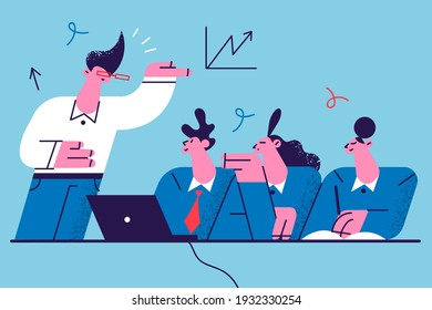Business education, learning, coaching illustration. Group of business people workers sitting and listening to speakers presentation on marketing development vector illustration