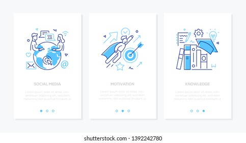 Business and education - set of line design style vertical web banners with copy space for text. Images of a globe, people chatting, businessman, books. Social media, motivation, knowledge concepts