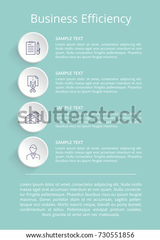 business efficiency informational poster title text stock vector