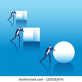 Business efficient concept. Businessmen push boxes and smart leader rolls ball. Business innovation and strategy thinking vector poster. Illustration of efficiency work and performance