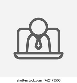 Business e-learning webinar icon line. Isolated symbol on online education topic with business e-learning webinar icon concept with also online course and eteaching meaning vector illustration.