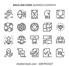 Business elements, bold line icons. The illustrations are a vector, editable stroke, 48x48 pixel perfect files. Crafted with precision and eye for quality.