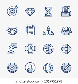 Business Elements Colored Outline Icons. Pixel Perfect