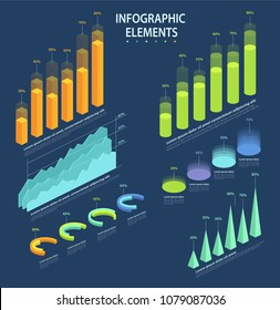 Business elements of infographic, set of statistical data, pie charts, columns, pyramids, graphs in 3d isometric design.