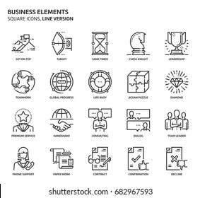 Business elements, square icon set. The illustrations are a vector, editable stroke, thirty-two by thirty-two matrix grid, pixel perfect files. Crafted with precision and eye for quality.