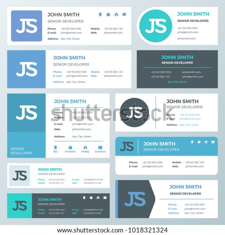 business email signature vector template business のベクター画像