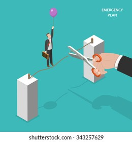Business emergency plan isometric flat vector concept. Walking by a rope man saves himself of dropping down by using a balloon. Alternative plan, plan b.