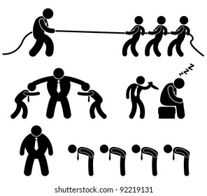 Business Employee Worker Situation in Office Workplace Icon Pictogram