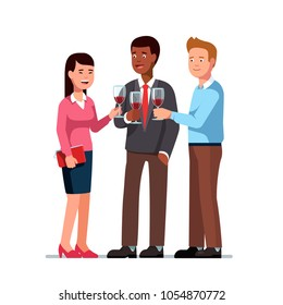 Business employees man, woman drinking wine on corporate party meeting clinking wine glasses. Group of business people partying drinking wine socializing chatting together. Flat character illustration