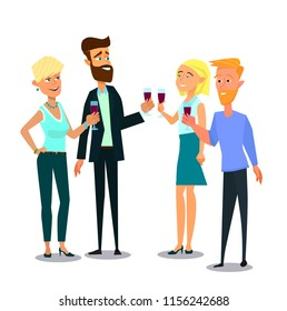 Business employees man, woman drinking wine on corporate party meeting clinking wine glasses. vector illustration in flat style.