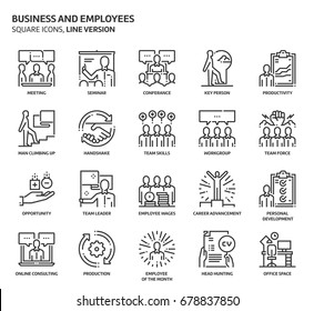 Business and employees, square icon set. The illustrations are a vector, editable stroke, thirty-two by thirty-two matrix grid, pixel perfect files. Crafted with precision and eye for quality.