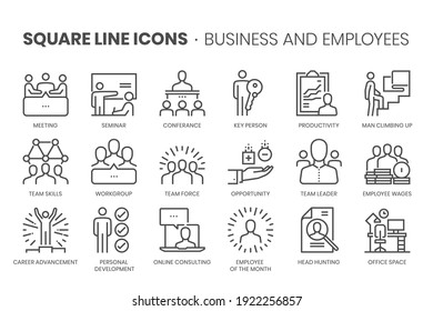 Business and employees, square line icon set. The illustrations are a vector, editable stroke, thirty-two by thirty-two matrix grid, pixel perfect files.