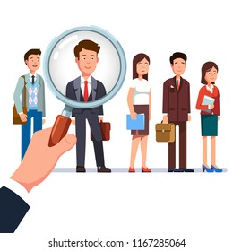 Business employer hand holding magnifying glass and choosing best candidate man from other applicants standing in line. Human resources, hiring and recruitment concept. Flat vector illustration