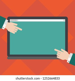 Business Empty template for Layout for invitation greeting card promotion poster voucher. Hu analysis Hands from Both Sides Pointing on a Blank Color Tablet Screen