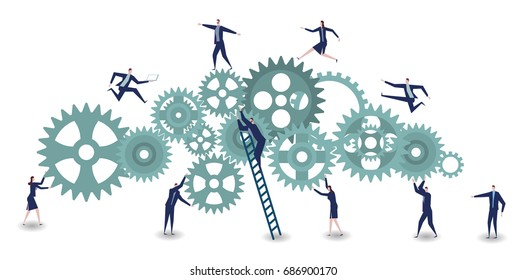 Business Engine. Business concept illustration.Businessman and businesswoman with cog wheel elements.