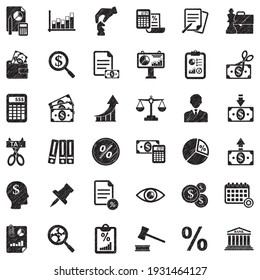 Business And Enterprise Icons. Black Scribble Design. Vector Illustration.