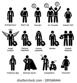 Business Entrepreneur Investors and Competitors Stick Figure Pictogram Icon Cliparts
