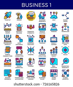Business essential line icons set in modern line icon style for ui, ux, website, web, app graphic design