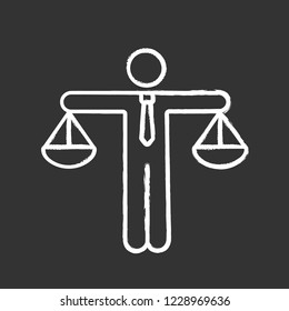 Business ethic chalk icon. Honesty. Morality. Law and regulation. Moral standards. Scales of justice. Isolated vector chalkboard illustration
